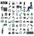 bath and sauna icons on white vector image