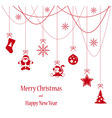 Christmas toys red card for Merry Christmas vector image