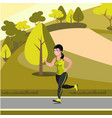 beautiful girl jogging in the park vector image