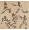 cricket sport collection cricketers an hand vector image