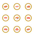 meat product icons set cartoon style vector image