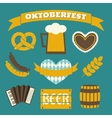flat design oktoberfest icons in blue and yellow vector image vector image