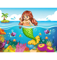 A sea with a smiling mermaid vector image