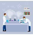 Chemical lab science research flat poster vector image