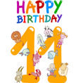 eleventh birthday anniversary card vector image