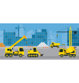 Construction Vehicles on Site Background vector image
