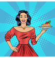 Girl Holding a Cake Housewife with Cheesecake vector image