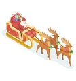 Isometric 3d Santa Claus Grandfather Frost Sleigh vector image