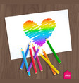 rainbow heart with color pencils vector image