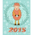 2015 card with cute smiling sheep holding heart vector image