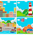 Scenes from city and rural area vector image vector image