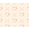 Seamless pattern with heart and arrow in vintage vector image