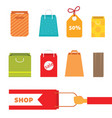 colorful shopping bag set perfect for web page or vector image