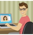 young boy chatting with girlfriend with video call vector image