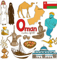 Collection of Oman icons vector image