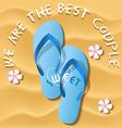 a pair of light blue flip flops on sandy beach vector image