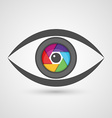 Icon eye as camera lens with colorful diaphragm vector image