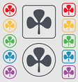 Clover icon sign symbol on the Round and square vector image