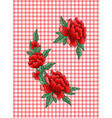 embroidery roses on checkered background vector image