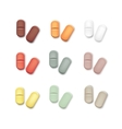 Set of Multicolored Pills Isolated on White vector image