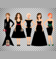young women in different black dresses vector image