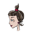 Cute cartoon hipster girl face head in profile vector image