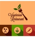 flat vegetarian restaurant icons set vector image vector image