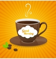 white coffee cup and text cloud vector image vector image