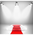 Illuminated Podium With Red Carpet vector image vector image