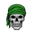 Cartoon skull in green bandana vector image vector image