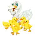 Mother duck and five ducklings vector image vector image