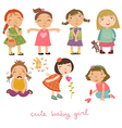 set with the girls vector image vector image
