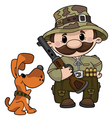 hunter and dog vector image vector image