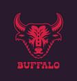 buffalo bull head logo element red on dark vector image