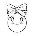 christmas ball with a bow outline on white vector image