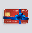 credit card with blue bow and ribbons vector image