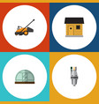 flat icon farm set of lawn mower stabling vector image
