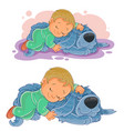 small child falling asleep using his dog vector image