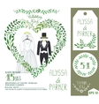 Wedding invitationGreen branches heart clothes vector image