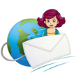 A globe with a wired envelope and a woman vector image