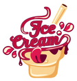 Kawaii lettering Ice Cream vector image vector image