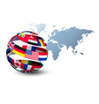 Globe made out of flags on a world map background vector image vector image