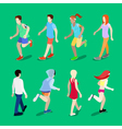 Isometric People Running Man Running Woman vector image