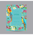 Tropical Parrot Birds and Flowers Colorful Frame vector image