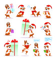 christmas funny cartoon dog set puppy emoticons vector image