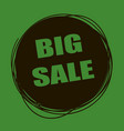 doodle sale tag big sale banner black and green vector image