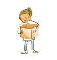 man holding box vector image