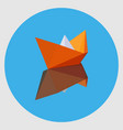 orange paper boat with the reflection vector image