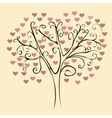 Patterned tree with red hearts vector image