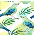 Watercolor seamless pattern with birds vector image